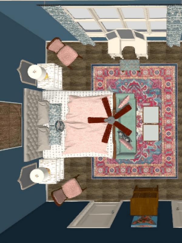 La Romana DIY design service master bedroom bohemian design ideas Diva by Design raymondville interior designer interior decorator