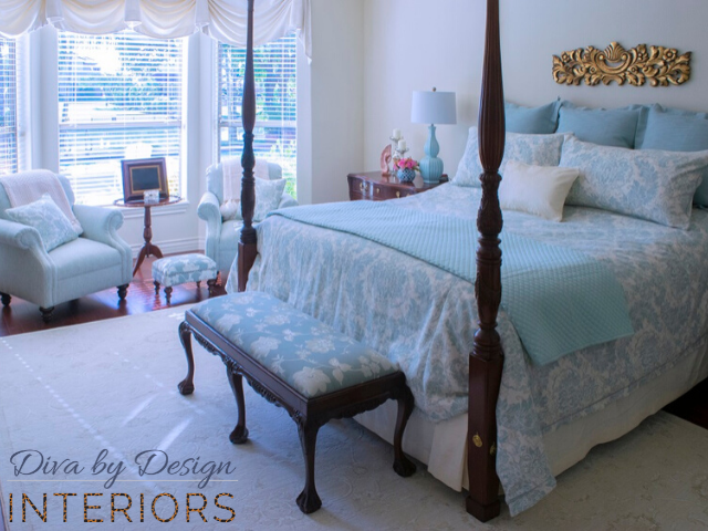 before and after master bedroom redesign custom bedding window treatments custom upholstery harlingen interior designer