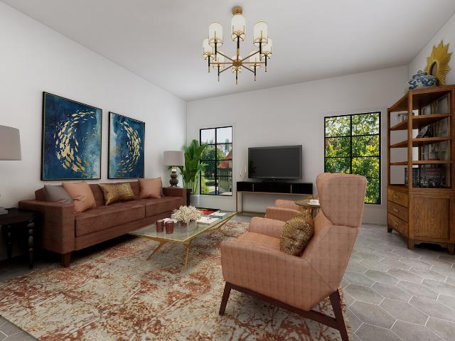 modern mediterranean living room  livable luxury orange gray black white color palette