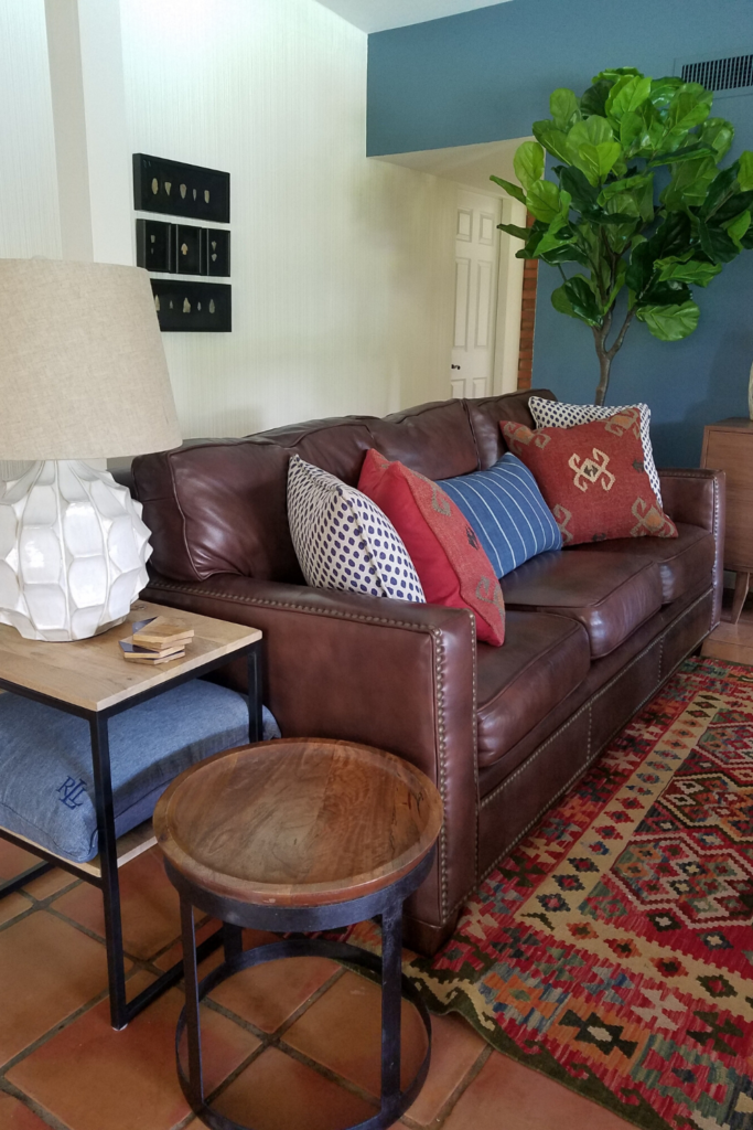 luxury interior design custom leather sofa  and pillows from diva by design in harlingen texas