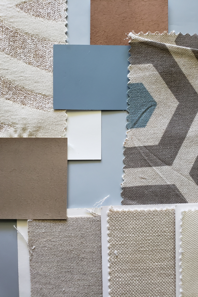 custom luxury interior design fabric and paint color palette for a home in mcallen texas from diva by design