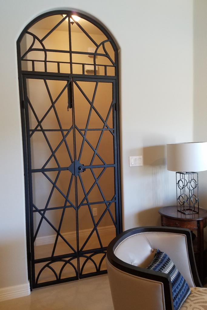 custom art deco style wrought iron gate from diva by design in mcallen texas