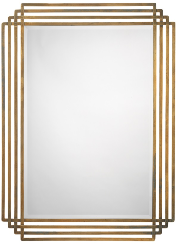 brass framed rectangle shaped mirror diva by design mcallen interior designer
