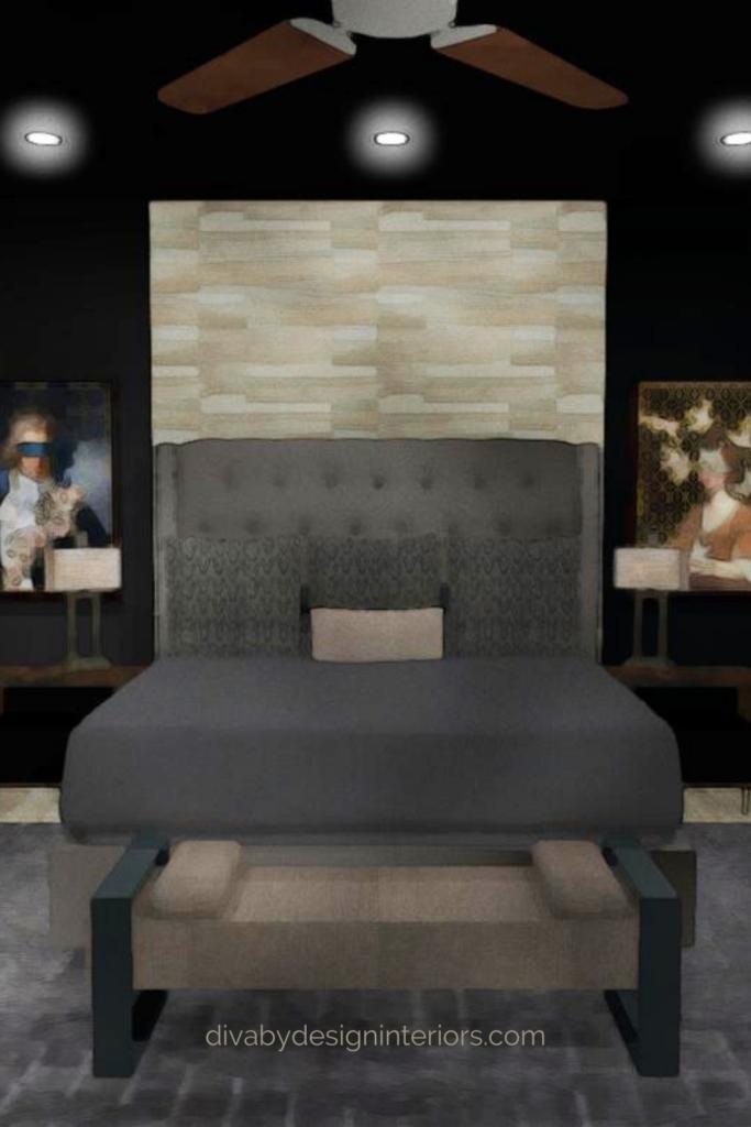 contemporary style master bedroom with black walls diva by design harlingen interior decorator
