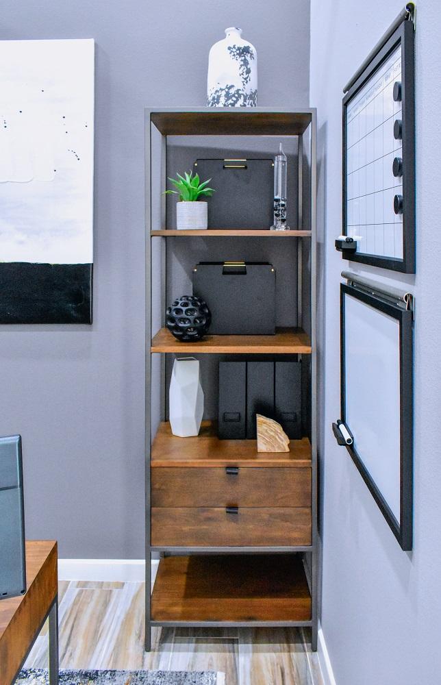contemporary home office storage etagere diva by design harlingen interior designer