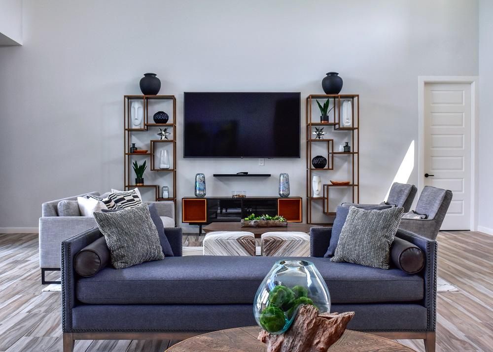 Modern Contemporary living room TV wall diva by design harlingen interior designer