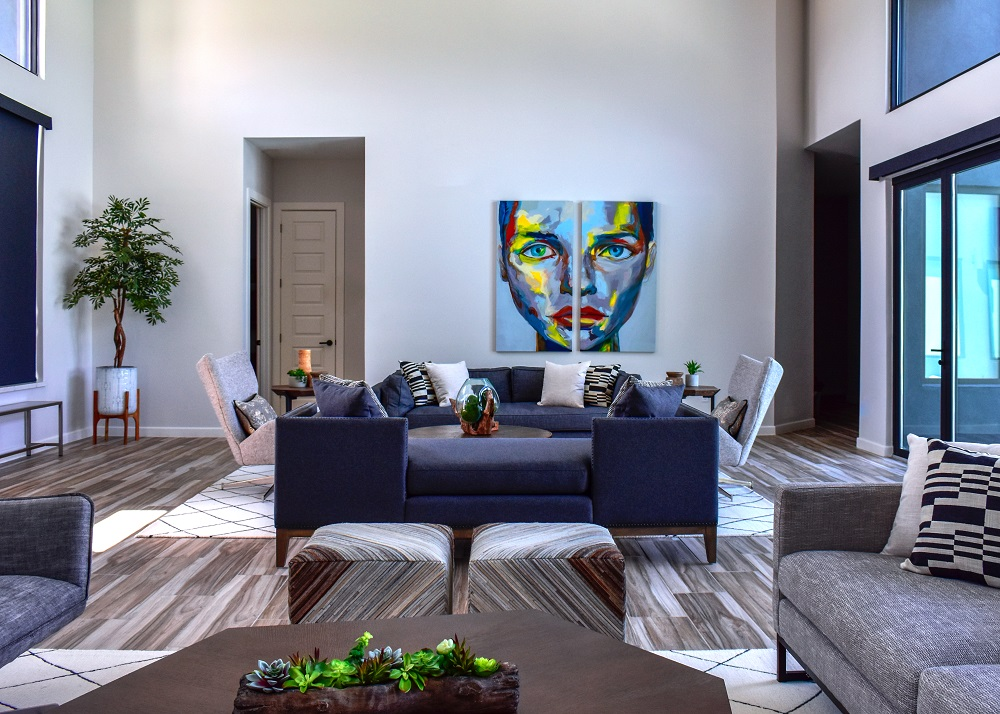 Modern Contemporary style living room with large scale art diva by design harlingen interior designer