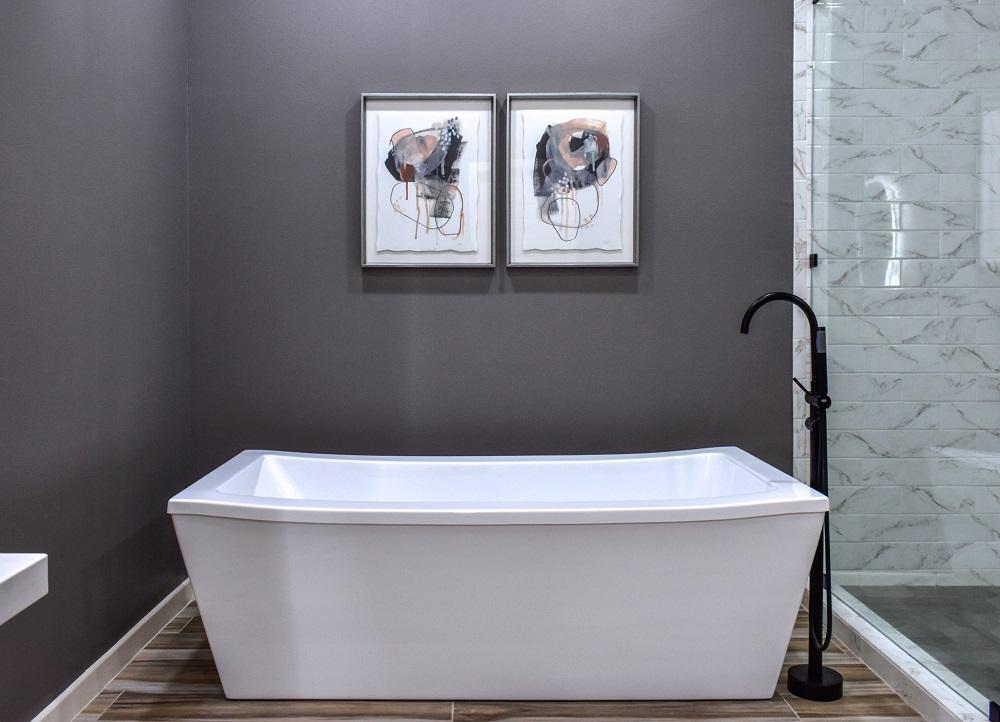 modern contemporary primary bathroom soaking tub diva by design harlingen interior designer