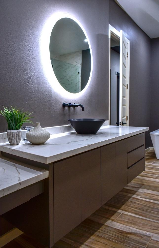modern contemporary primary bath vanity led mirror diva by design harlingen interior designer