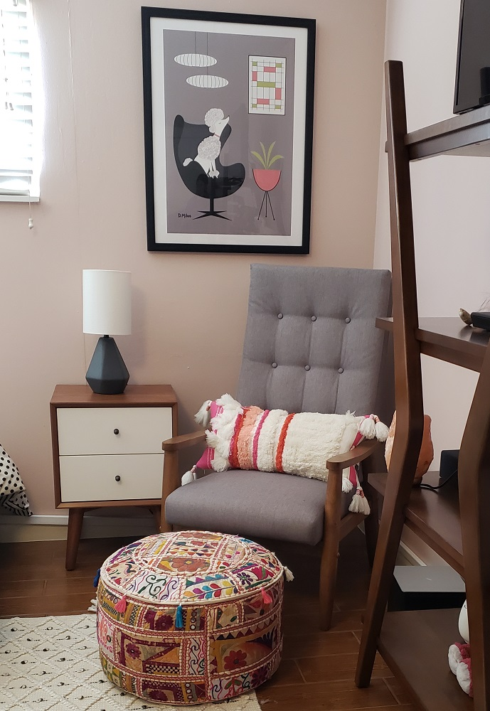 seating area in teen girls bedroom decor project diva by design harlingen interior designer