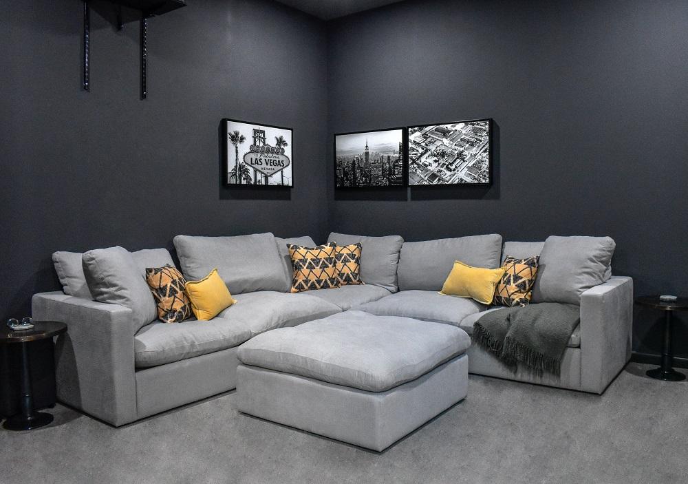 media room decor with custom pillows diva by design harlingen interior designer